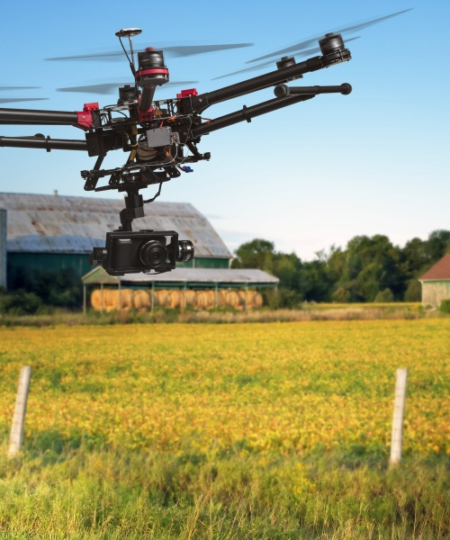 A drone over arable fields